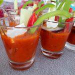 Gaspacho aux légumes du jardin BIO et cube de chèvre