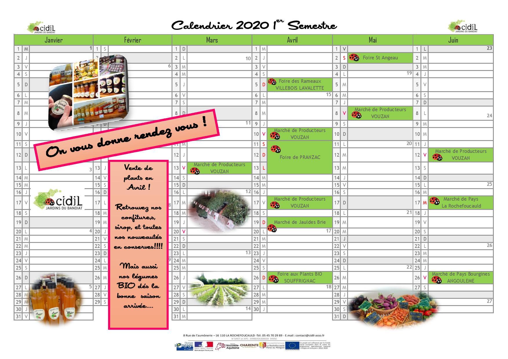 calendrier 202 des marchés